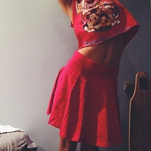 bright red cotton skirt